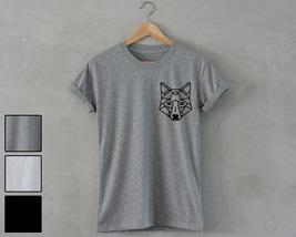 Geometric Wolf Shirt pocket print unisex T-Shirt hipster fashion dope sw... - $14.99