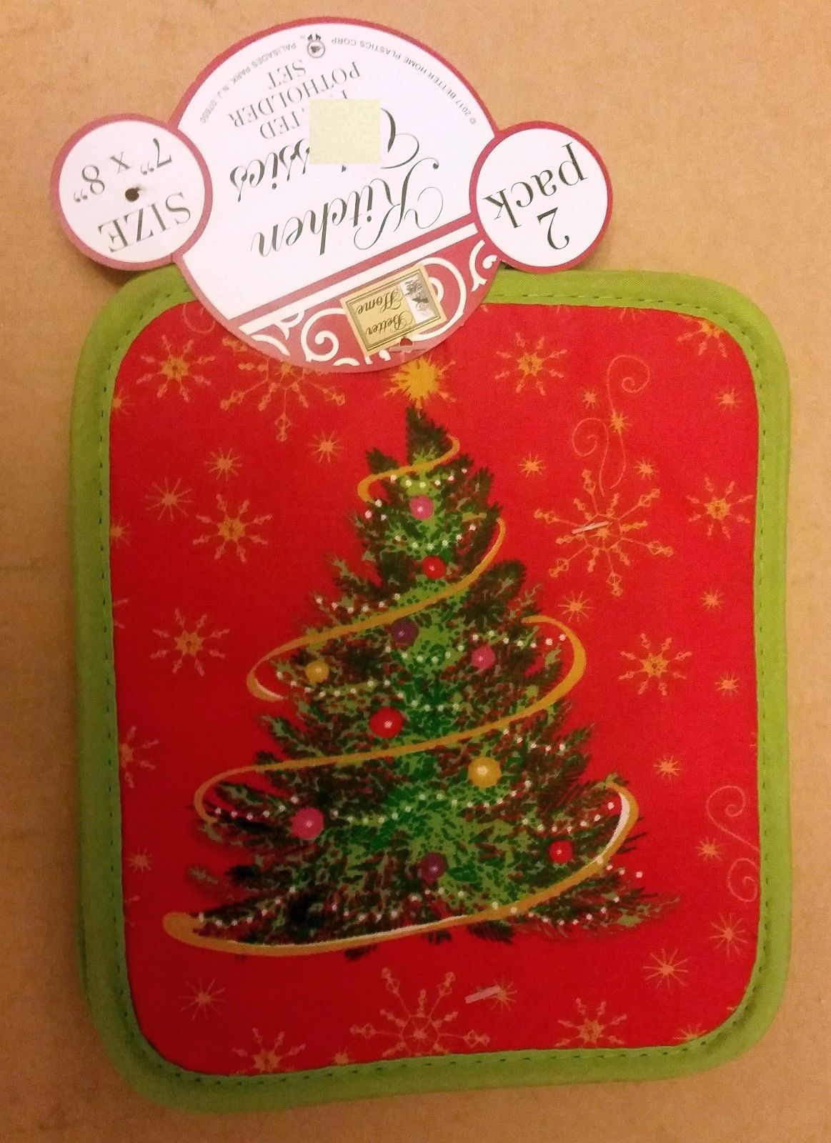 "Set of 2 Printed JUMBO Pot Holders, 7"" x 8"", WINTER CHRISTMAS TREE by BH"