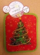 "Set of 2 Printed JUMBO Pot Holders, 7"" x 8"", WINTER CHRISTMAS TREE by BH - $8.90"