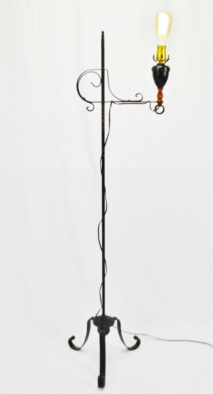 Vintage Arts & Crafts Mission Style Wrought Iron Adjustable Height Floor Lamp