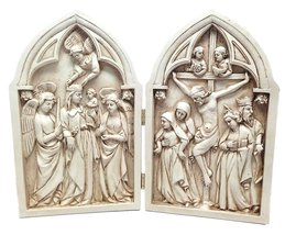 Crucifix Diptych Statue Divinity Jesus Mary Crucifixion And Ascension Resin - $39.99