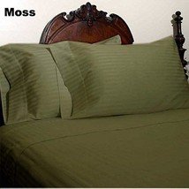 KING SIZE MOSS STRIPE BED SHEET SET 800 THREAD COUNT 100% EGYPTIAN COTTON - $55.94