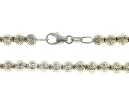 """18K WHITE GOLD BALLS CHAIN WORKED SPHERES 4mm DIAMOND CUT, FACETED 20"""", 50cm image 2"""