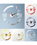 Removable Modern DIY 3D Crystal Acyrlic Mirror Quartz Wall Clock Framele... - $19.95