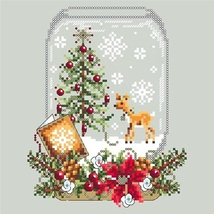 Deer Snow Globe christmas holiday cross stitch chart Shannon Christine D... - $10.00