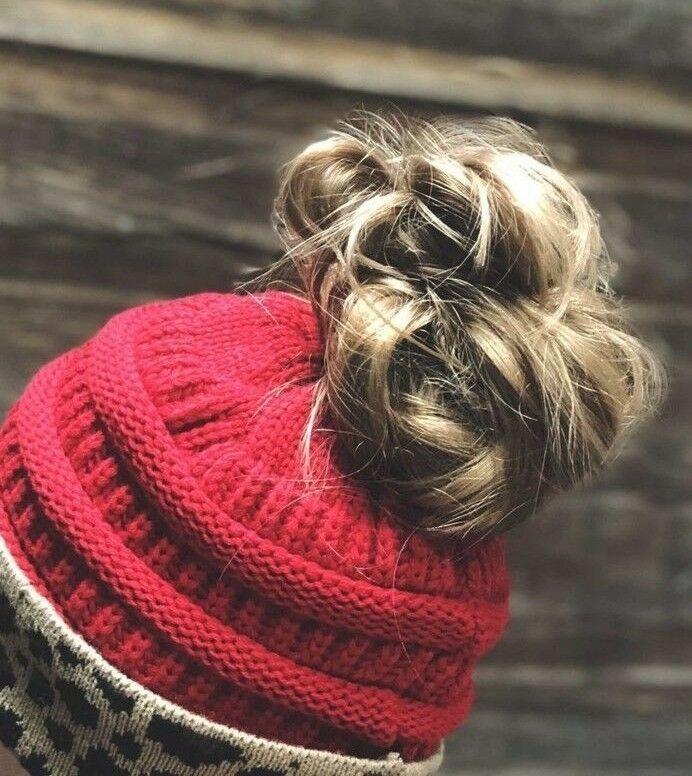 CC Beanie Ponytail Beanie Tail Messy High Bun Hat Knit Cap Leopard Pattern Cuff image 2