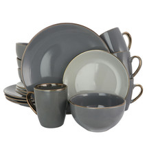 Elama Tahitian Grand 16 Piece Luxurious Stoneware Dinnerware Set in Ston... - $95.93
