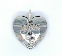 Large Sterling La Paglia Handwrought Heart Pendant #112 with Leaf Beads (#J4954) - $148.50