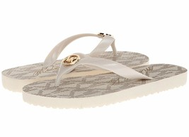 Michael Kors MK Women's Jet Set Metallic PVC Rubber Flip Flop Sandals Gold