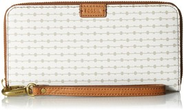 NWT Fossil Women's Emma Large Zip Clutch Wallet, White/Brown - $48.26