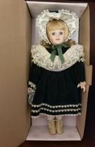 """Design Debut Porcelain Doll 16"""" Olivia---Green Velvet Dress & Eyes--Orig... - $14.95"""