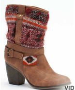Candies Womens Mid Calf Brown Boots Tribal Pattern 6M 6 M - $59.99