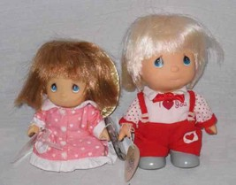 "NEAT 4"" And 5"" Pair Enesco Precious Moments Dolls - $30.82"