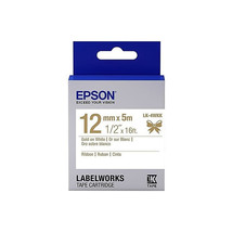 12mm Gold on White - Epson LABELWORKS LK-4WKK Ribbon Tape Cartridges (Pa... - $82.99