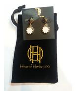 House of Harlow Gold Tone Sunburst White Enamel Drop Earrings - $24.14