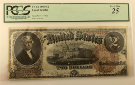 1880 $2 United States Note Graded by PCGS as Very Fine 25 Fr #52 - $371.24