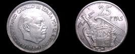 1957 (67) Spanish 25 Peseta World Coin - Spain Caudillo - $6.99