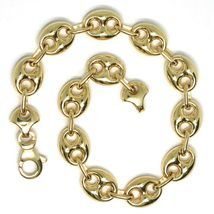 18K YELLOW GOLD MARINER BRACELET BIG 10 MM, 8.3 INCHES, ANCHOR ROUNDED OVAL LINK image 3