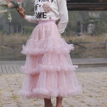Champagne Tiered Tulle Skirt Outfit Floral Layered Tulle Skirt Princess Skirt image 13