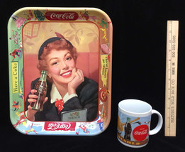 Coca Cola Coke Tin Serving Tray Metal & Coffee Cup Mug Menu Girl Season ... - $14.84