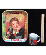 Coca Cola Coke Tin Serving Tray Metal & Coffee Cup Mug Menu Girl Season ... - $14.84
