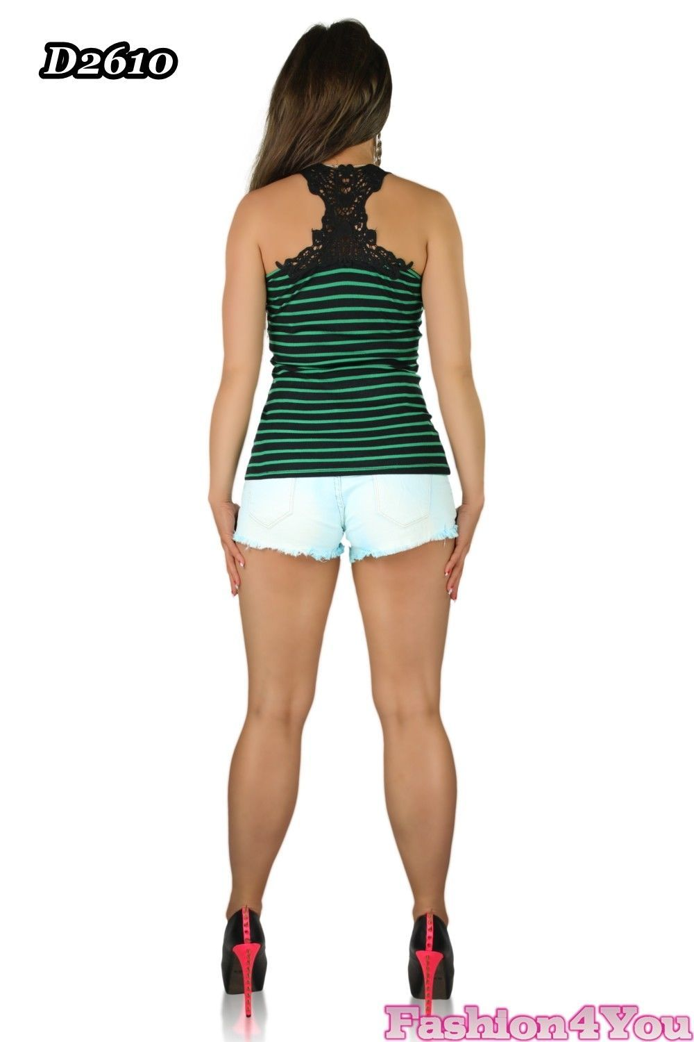 Women's Ladies Top Summer Casual Striped Vest Top Embroidered Size 6,8,10,12 UK