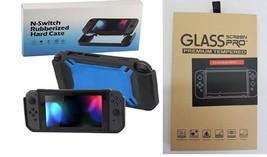 Neu Gehärtetes Glasscheiben & Gummi Harte Schutzhülle für Nintendo Schalter BLK/ - $17.95