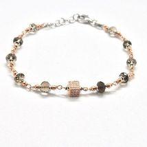 Bracelet in Sterling Silver 925 Laminate Rose Gold with Quartz ospreys and Cu... image 3
