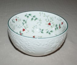 """6"""" Round Embossed Serving Bowl Soup Pfaltzgraff Winterberry Christmas Holiday  - $14.80"""