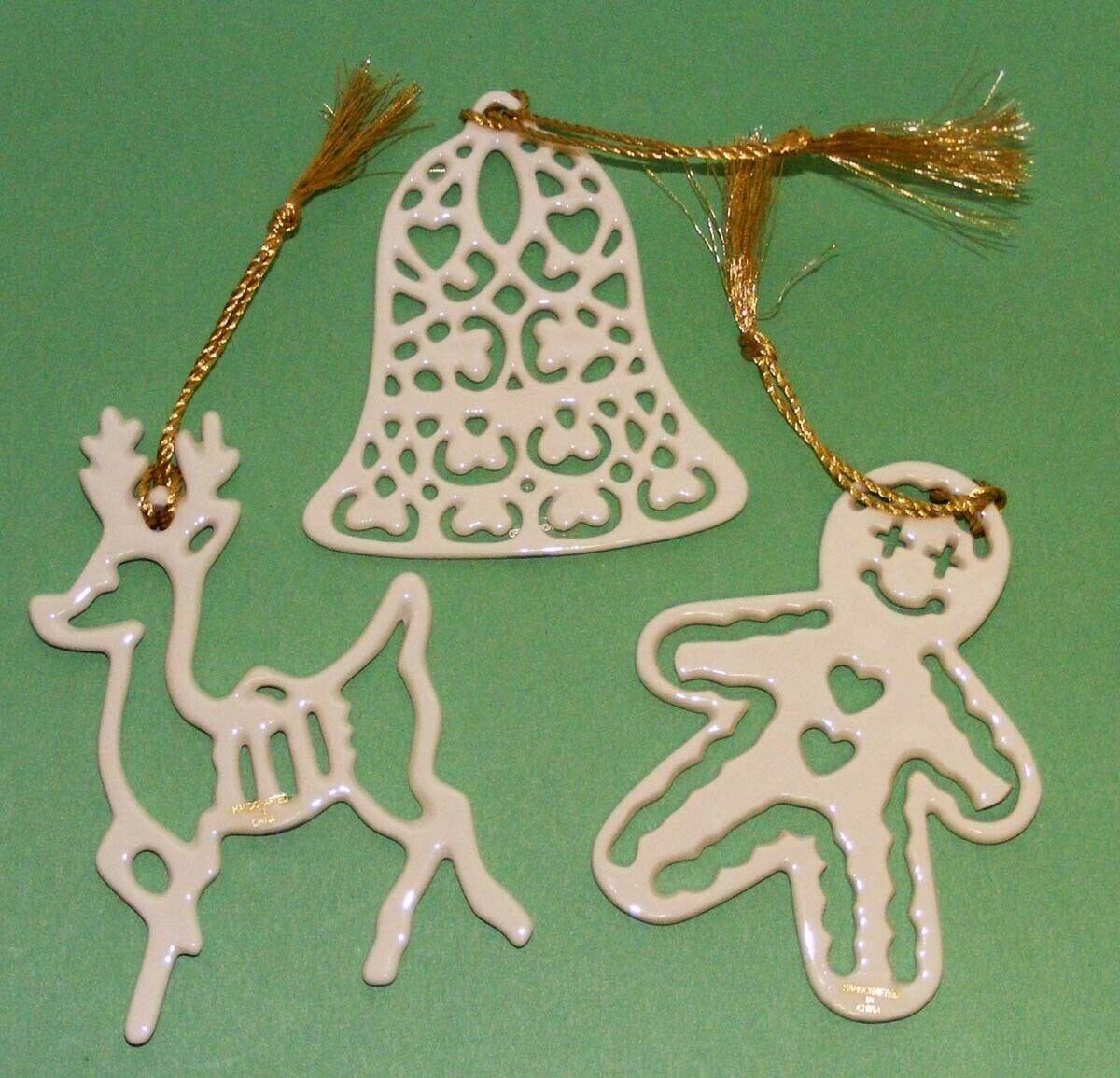 Set of 3 LENOX PIERCED ORNAMENTS with Certificates REINDEER-BELL-GINGERBREAD