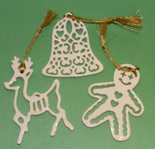 Set of 3 LENOX PIERCED ORNAMENTS with Certificates REINDEER-BELL-GINGERB... - $19.99