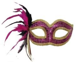 Pink Sequin Venetian Style Mardi Gras Masquerade Mask w/ Feathers & Rhinestone - $13.91