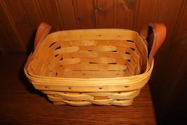 Longaberger Basket 1999 Basket Handwoven w/ Leather Handles USA - $16.78