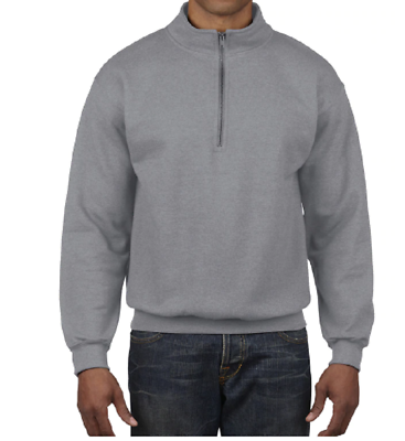 Primary image for Gildan Small Cotton Blend 1/4 Zip Cadet Collar Fleece Sweatshirt Heath. Gray