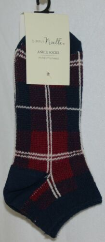 Simply Noelle Navy Blue Red White Ankle Socks One Size Fits Most