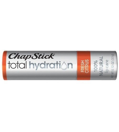 3 ChapStick Total Hydration Lip Care Fresh Citrus Balm Chapped Lips 0.12oz, New!