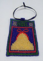 handmade beaded Noel bell Christmas ornament - $8.50