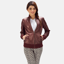 Designer Ladies Brown Leather Motorcycle Jacket-LD-08 - $130.00+