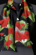 "Japanese Inspired Red Black Green Women's Silk Scarf, 12"" x 64"", by Lore... - $22.00"