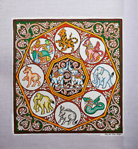 Original Wall Art Sand Painting Canvas - White Elephant - 39cm x 38cm /1... - $50.65
