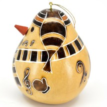 Handcrafted Carved Gourd Snowman Winter Ornament Made in Peru image 2