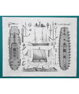 GUNSHIP Construction Sails Windlass Anchors - 1844 Superb Print - $25.20