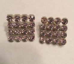 """Vintage 1950s Pale Pink Crystal Rhinestone 1"""" Squares Retro Clip On Earrings image 2"""