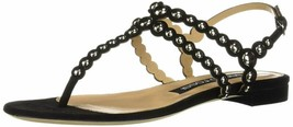 Sergio Rossi Sandals, Luxury Italian Flats For Women, Black Open Toe T-S... - $985.40