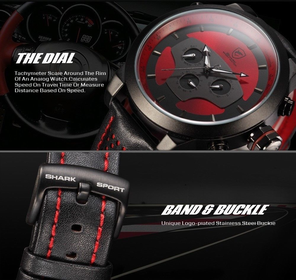 50mm Men's Black Wrist Watch Creative Sport Leather Quartz Date w/ 2 Time Zones