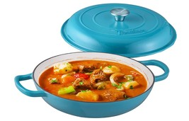 Enameled Cast Iron Shallow Casserole Braiser Pan with Cover, 3.8-Qt, Mar... - $98.00