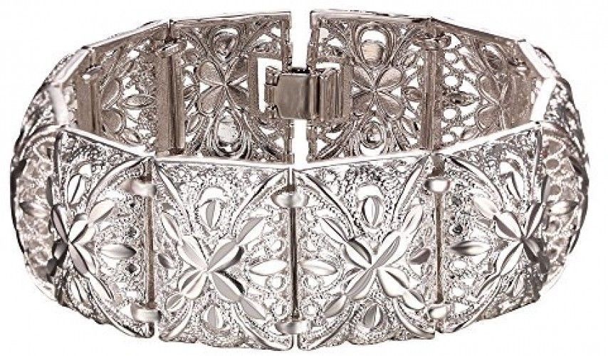Women Bangle Vintage Indian Style Jewelry 20cm Long 2.2cm Width Platinum Plated - $36.67