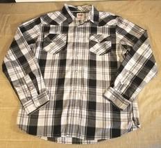 Levi's Plaid LS Pearl Snap Button Modern Western Shirt Logo Mens XL Blac... - $25.49