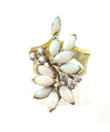 14k Yellow Gold Vintage Women's Flower Shape Cocktail Ring With Opal & D... - $975.33