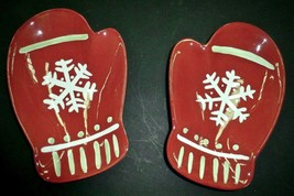 Christmas Hallmark Serving Dishes Plates Mittens with Snowflakes Made in... - $28.70